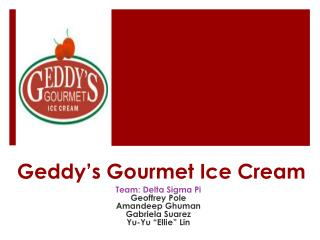Geddy's Gourmet Ice Cream