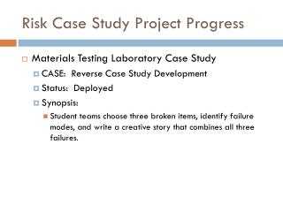 Risk Case Study Project Progress