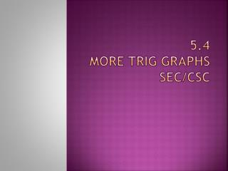 5.4  More Trig Graphs sec/ csc