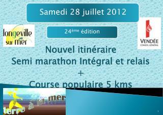 Nouvel itinéraire  Semi marathon Intégral et relais + Course populaire 5 kms