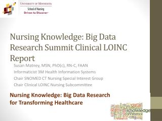 Nursing Knowledge:  Big Data Research Summit Clinical LOINC Report