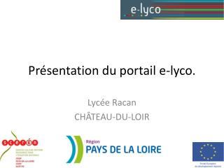 Présentation du portail e- lyco .