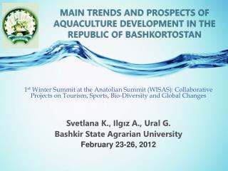 Main trends and prospects of aquaculture development in the Republic of  Bashkortostan