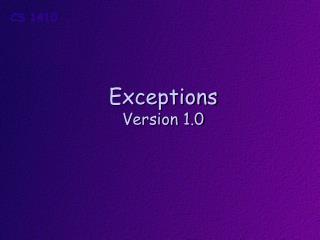 Exceptions Version 1.0