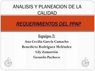 ANALISIS Y PLANEACION DE LA CALIDAD
