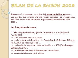 BILAN DE LA SAISON 2013