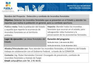 Nombre del Proyecto:  Detección y combate de incendios  forestales