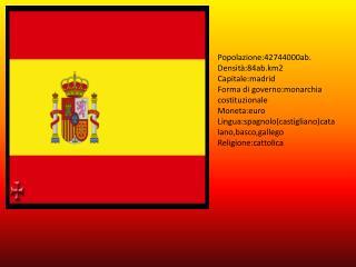 Popolazione:42744000ab. Densità:84ab.km2 Capitale:madrid Forma di governo:monarchia costituzionale