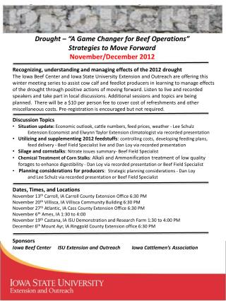 "Drought – ""A Game Changer for Beef Operations"" Strategies to Move Forward November/December 2012"