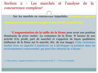 Section 2 - Les march�s et l�analyse de la concurrence  complexe 1