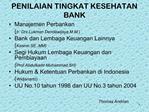 PENILAIAN TINGKAT KESEHATAN BANK