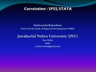 Correlation : SPSS/STATA