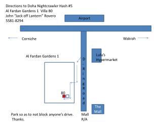 Directions to Doha  Nightcrawler  Hash #5 Al  Fardan  Gardens 1  Villa 80