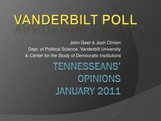Tennesseans' Opinions January 2011
