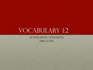 VOCABULARY 1:2