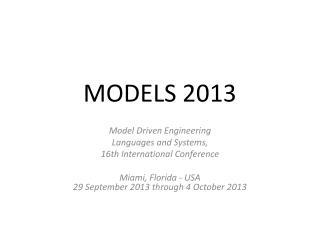 MODELS 2013
