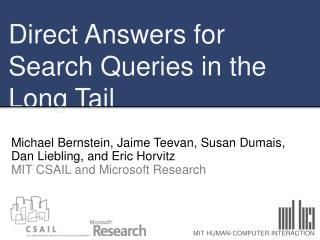 Direct Answers for Search Queries in the Long Tail