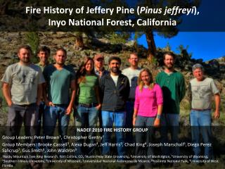 Fire History of Jeffery Pine ( Pinus jeffreyi ),  Inyo National Forest, California