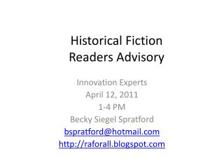 Historical Fiction Readers Advisory
