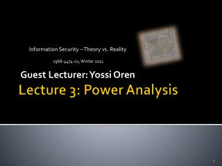 Lecture 3: Power Analysis