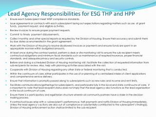 Lead  Agency  Responsibilities for ESG THP and HPP