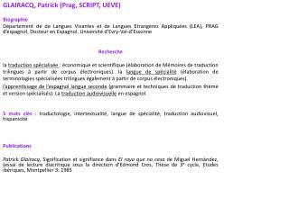 GLAIRACQ, Patrick (Prag, SCRIPT, UEVE) Biographie