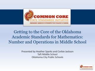 Presented by Heather Sparks and Corbie Jackson Taft Middle School Oklahoma City Public Schools