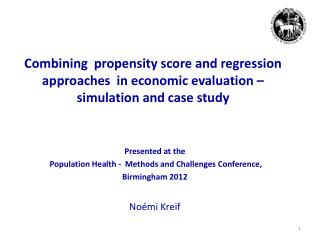 Presented at the  Population Health -  Methods and Challenges Conference,  Birmingham 2012