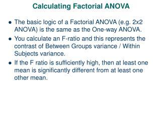 Calculating Factorial ANOVA