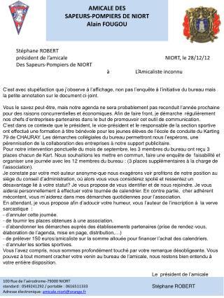 AMICALE DES  SAPEURS-POMPIERS DE NIORT Alain FOUGOU