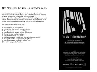 Noe  Mendelle: The New Ten Commandments