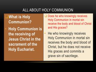 ALL ABOUT HOLY COMMUNION