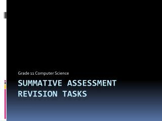 Summative Assessment Revision Tasks