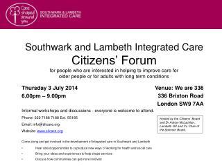 Thursday 3 July 2014 6.00pm – 9.00pm