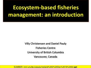 Ecosystem-based fisheries  management: an introduction
