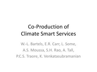 Co-Production of Climate Smart Services