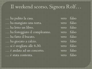 Il weekend  scorso , Signora Rolf…