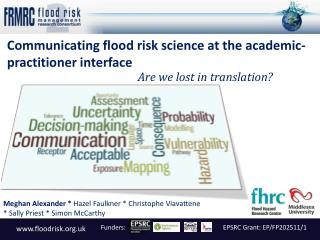 Communicating flood risk science at the academic-practitioner interface