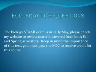 EOC  Practice Questions