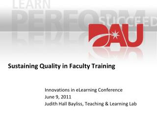 Sustaining Quality in Faculty Training