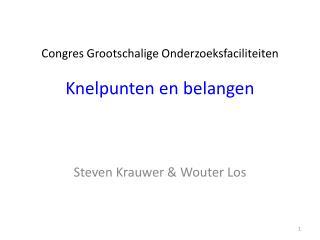 Congres Grootschalige Onderzoeksfaciliteiten Knelpunten  en  belangen
