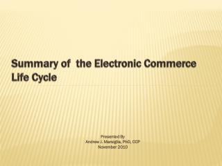 Summary of  the Electronic Commerce Life Cycle