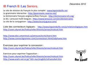 Le site de  révision  du  français  le plus  complet  :  www.lepointdufle.net