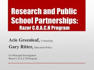 Research and Public School  Partnerships: