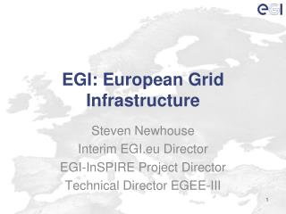 EGI: European  Grid Infrastructure