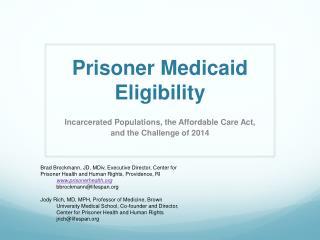 Prisoner Medicaid Eligibility