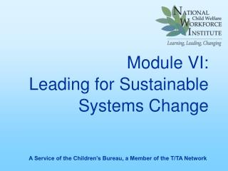 Module VI: Leading for Sustainable Systems Change