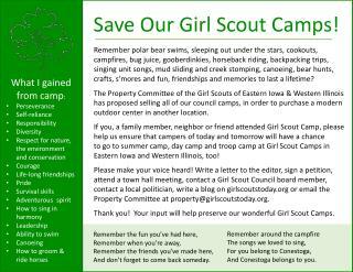 Camp Conestoga Choose Cherish Keep Remember Save Continue Carry on Conserve Preserve Maintain