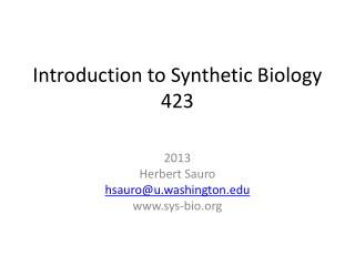 Introduction to Synthetic Biology 423