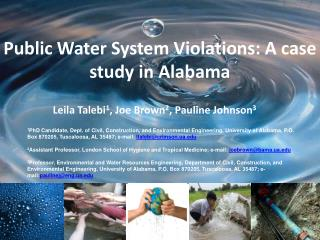 Public Water System Violations: A case study in Alabama